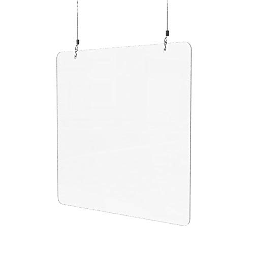 Sneeze Guard for Counter (24'W x 24'H), Hanging Plexiglass Shield, Ceiling Mount Clear Acrylic Plastic Barrier for Countertops, Desk, Cashier, Manicurist, Protection from Germs [Made in USA]