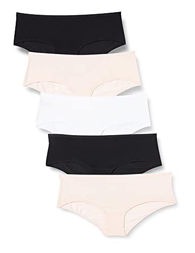 Iris & Lilly BELK002M5 5er-Pack Bikini-Set, Schwarz/Blassrosa /Weiß, Medium