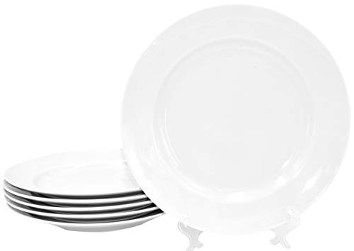 6 Stück Flache Teller im Set aus echtem Porzellan Ø 265 mm weiß auch zum Bemalen bestens geeignet Tafelgeschirr für Gastronomie und Haushalt