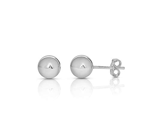 NYC Sterling Silver Bead Ball Studs – 3mm-10mm Earrings-Plain Round Polished Hypoallergenic Studs for Women, Girls (3mm to 10mm)