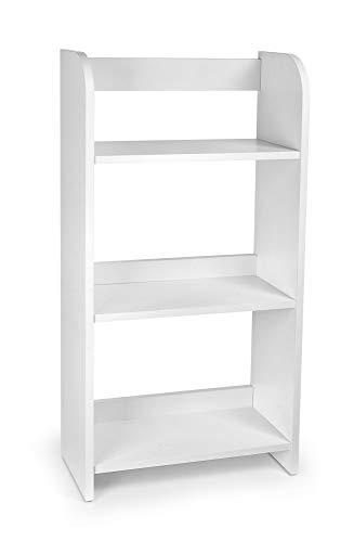 Leomark Estantería de Madera para Niños - Blanca - Tres Estantes, Librero para Dormitorio, Altura 102,5 cm