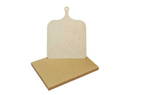 Pizzastein Set mit Holzschieber