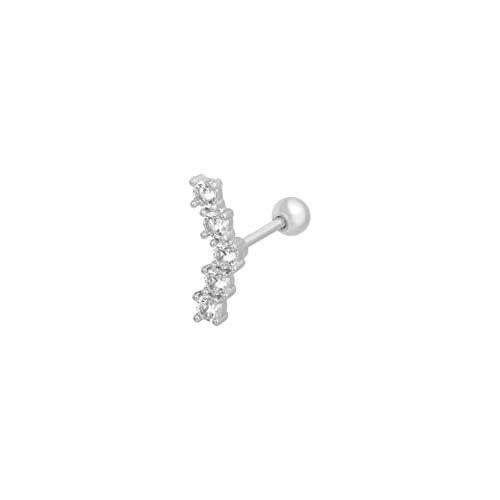 2 piezas minimalista 925 plata esterlina estrella Luna Stud delicado punto pequeño cartílago pequeño Piercing de hélice -2