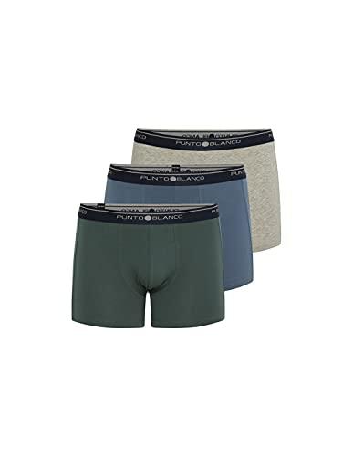 Punto Blanco - Pack 3 Boxers Lisos Verde-Azul-Gris, 52/L