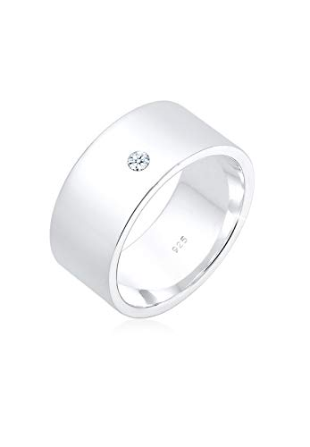 Elli Alianza de pedida de mujer con plata, diamante - Tamaño 12
