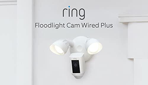 Nuovo Ring Floodlight Cam Wired Plus di Amazon – Video in HD a 1080p, proiettori LED, sirena integrata, alimentazione via cavo   Periodo di prova gratuita di 30 giorni del piano Ring Protect   Bianco