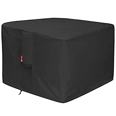 """SheeChung Fire Pit Cover - Waterproof 600D Heavy Duty Square Patio Fire Pit Table Cover Black (Square - 28"""" L x 28"""" W x 25"""" H)"""
