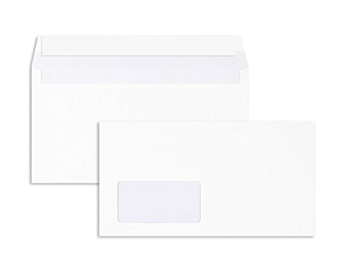 1000 Stück, Briefumschläge, 125 x 235 mm (Kompakt), Haftklebung mit Abziehstreifen, Gerade Klappe, 80 g/qm Offset, Mit Fenster, Weiß, Blanke Briefhüllen