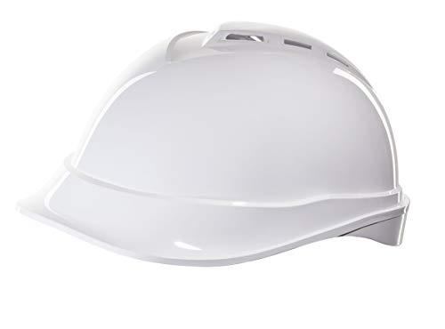 Casco de Protección MSA V-Gard 200 con Ventilación y Ajuste por Trinquete FasTrack - Casco de Trabajo Casco de Seguridad Casco de Construcción, Color: Blanco