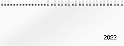 rido/idé 7036501002 Tischkalender/Querterminbuch Modell Sequenz, 2 Seiten = 1 Woche, 297 x 105 mm, Karton-Einband Trucard weiß, Kalendarium 2022, Wire-O-Bindung