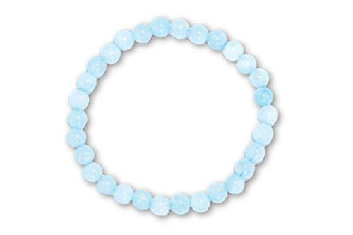 Taddart Minerals – Pulsera azul de piedra natural aguamarina con bolas de 6 mm montadas en hilo de nailon elástico – hecha a mano