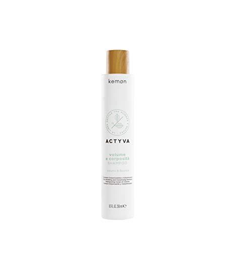 Kemon - Actyva Volume e Corposità Shampoo, Shampoo per Capelli Fini ad Azione Volumizzante con Semi di Lino, Senza Siliconi - 250 ml