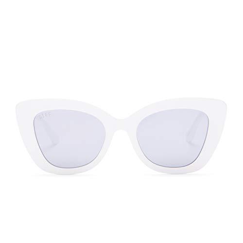DIFF Eyewear - Raven - Designer Cat Eye Sunglasses for Women - 100% UVA/UVB, White + Lavender Flash