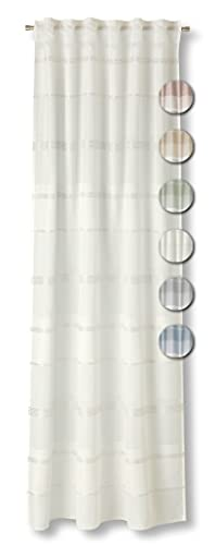 Neutex for you! MORELLA halbtransparenter Schal mit Multifunktionsband, Gardinenband, Vorhang, Gardine, 245 x 144 cm, wollweiß