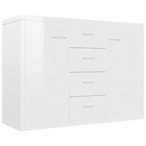 vidaXL Sideboard mit 4 Schubladen 2 Türen Kommode Anrichte Mehrzweckschrank Schrank Beistellschrank Flurschrank Hochglanz-Weiß 88x30x65cm Spanplatte