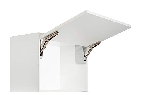 Gedotec Klappenhalter Küchen-Schrank Kesseböhmer Klappenbeschlag Möbel-Klappen Free Flap Mini | Modell C 2,7-14,7 kg | Möbelbeschläge | 1 Garnitur - Original Klappenscharnier Komplett-Set weiß