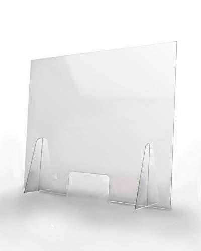 Pantalla Protección Mostrador 100x80cm - PET Policarbonato Semi Transparente 3mm - Mampara para Mostradores ULTRARESISTENTE ESTABLE - Separador Transparente Colegios Supermercados Farmacias Tiendas