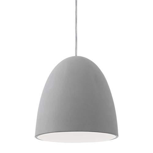 EGLO 92521 A++ to E, Hängeleuchte, Keramik, E27, Grau, 20.5 x 20.5 x 110 cm
