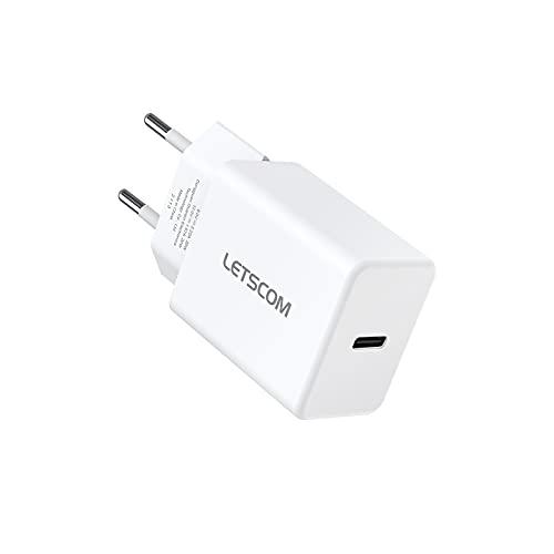 LETSCOM 20W USB C Ladegerät, USB-C PD QC3.0 Netzteil für für iPhone 12 Mini/12 Pro Max MagSafe iPad Pro Galaxy Switch MacBook Air & mehr (Ladekabel Nicht inklusive)