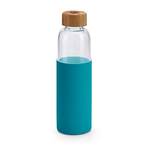 Téo 'Punchy' azul, botella de vidrio de borosilicato de 600 ml con tapón de bambú y funda de silicona, ideal para todo tipo de bebidas (té, café, bebidas aromáticas...)