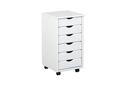 Inter Link Rollcontainer Bürocontainer Schubladenschrank Büroschrank Kiefer Massivholz Weiss lackiert