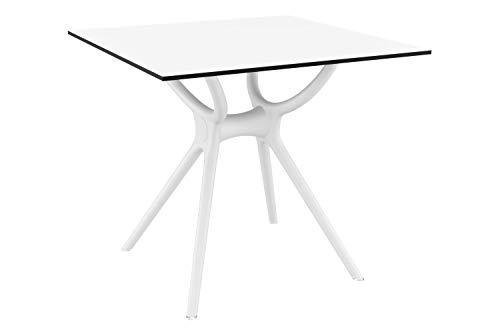 EQT-TEC Table de Jardin de qualité supérieure résistante aux intempéries en Acier Inoxydable 74 x 80 x 80 cm