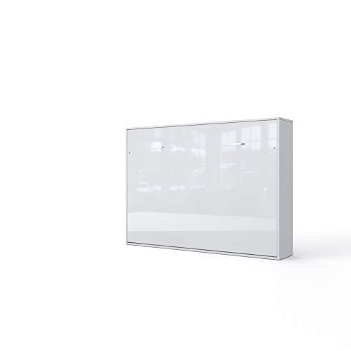 Invento Schrankbett Wandklappbett Horizontal Wandbett Bettschrank Funktionsbett Gästebett Klappbar Schrank mit integriertem Klappbett Gästezimmer Wohnzimmer Schlafzimmer 140x200 (Weiß/Weiß Glanz)
