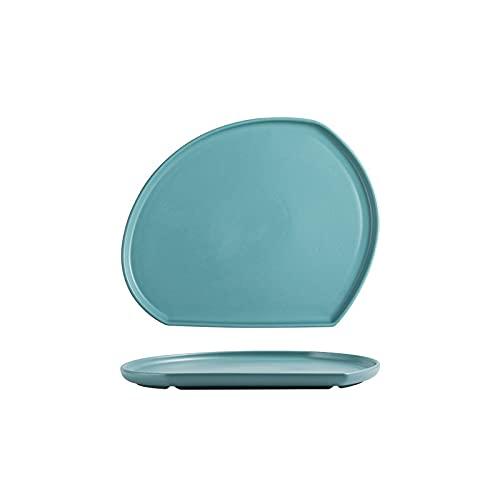 Hanpiyigcp Platos, Placas de Cena de 1 UNIDS, Placas de cerámica de Forma Irregular, para Aperitivo, postres, Placas de Cena, Placas Buffet (Color : Green-S)