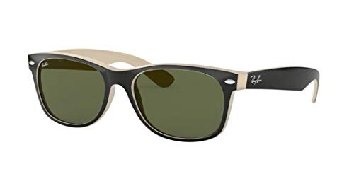 Fashion Shopping Ray-Ban RB2132 New Wayfarer Sunglasses Shiny Black/Beige (875) RB 2132 55mm
