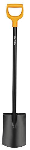 Fiskars Gärtnerspaten für weiche, steinarme Böden, Rund, Länge 117 cm, Hochwertiges Stahl-Blatt/Kunststoff-Stiel, Schwarz/Orange, Solid, 1003456