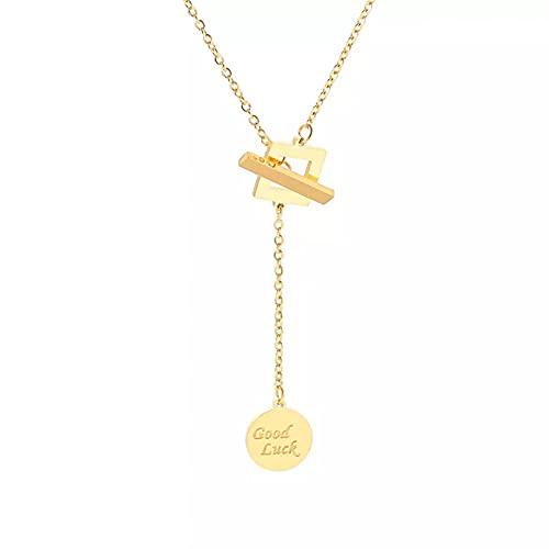YQMJLF Collar Moda Accesorios Collares Mujer Collar con Colgante de Buena Suerte de Oro para Mujer, joyería Nueva, Collar de Estilo Largo, Acero de Titanio, diseño de Lujo, Moda Joyas Regalos
