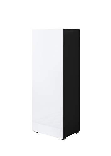 muebles bonitos Vitrina Luke V1 (40x128cm) Color Negro y Blanco con Patas estándar
