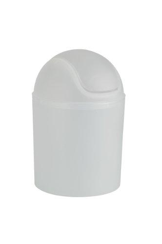 WENKO Schwingdeckeleimer Arktis, 1,5 Liter Fassungsvermögen, praktischer Kosmetikeimer für Bad, Gäste-WC & den gesamten Haushalt, aus Kunststoff, Maße (B/T x H): Ø 13,5 x 20 cm, Weiß gefrostet