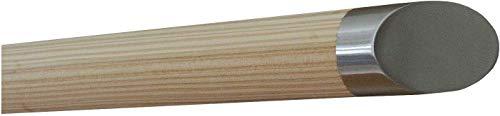 Montagefertiger Lärche Handlauf Geländer unbehandelt roh fein geschliffen Ø 42 mm mit montierten Edelstahl Endstücken ohne Halter Länge: 400 mm / 40 cm / 0,4 m Enden: schräges Endstück