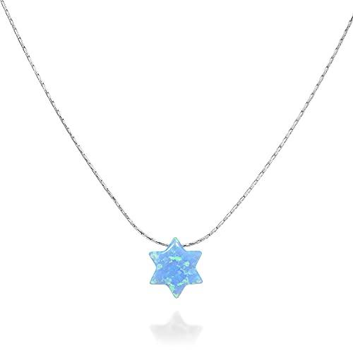 Blue David Star Sterling Silver Choker Necklace - Handmade Jewish Opal Magen David Collar - Length: 13.5 inch + 3 inch Extender
