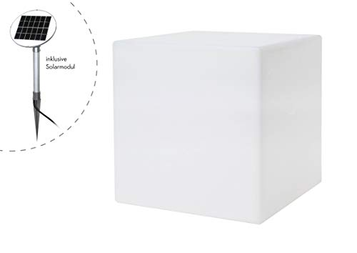 8 seasons design | LED Solarwürfel Shining Cube (43 cm, warmweiß, Dämmerungssensor, UV-beständig, Solarleuchte, Solarcube, Würfelleuchte für außen) weiß
