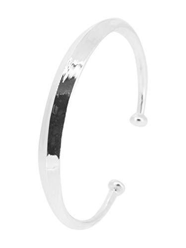 TreasureBay Mens Women's Solid Plain 925 Sterling Silver Torque Bangle Bracelet