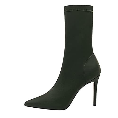 Botas cortas para mujer, cómodas botas ligeras con calcetines, botines de otoño Vintage con punta puntiaguda y tacón de bloque alto, botines de otoño vintage