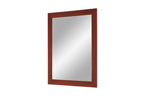 Flex 35 - wandspiegel met frame (rood geveegd), spiegel op maat met 35 mm brede MDF-houten lijst - op maat gemaakte spiegellijst incl. spiegel en stabiele achterwand met hangers 65 x 55 cm (Außenmaß) Rood geweven
