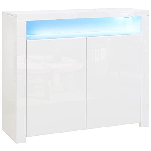 homcom Mobiletto Salvaspazio Multiuso per Ingresso, Salotto o Bagno in Legno Bianco, con Luci LED Colorate, 107x35x97cm