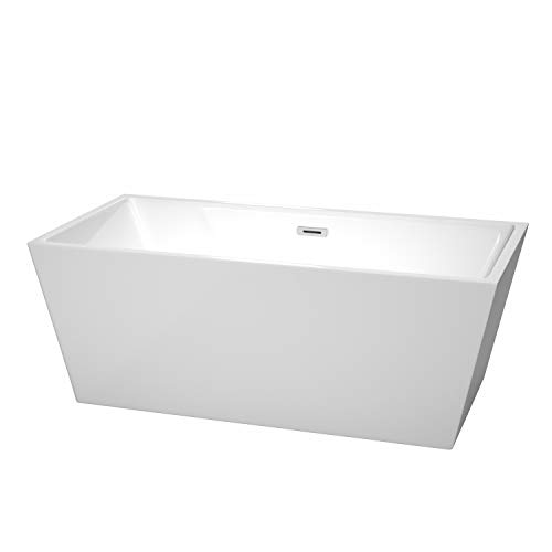 Wyndham Collection Sara 63 inch Freestanding Bathtub in White with Polished Chrome Drain and Overflow Trim