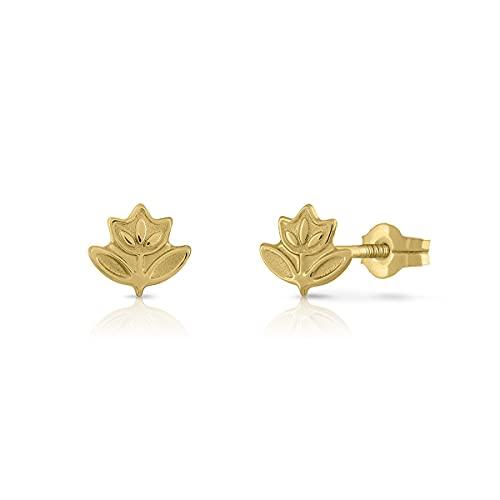 Pendientes Oro de Ley Certificado. Niña/Mujer. Diseño Flor. Cierre de presión. Medida 6x6.5 mm. (1-3955)