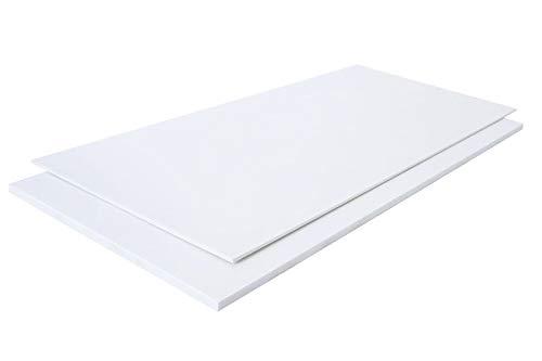 Polystyrol Polystyrolplatte (PS) WEIß und SCHWARZ Verschiedene FORMATE, Stärken: 1mm, 2mm, 3mm, 4mm, 5mm TOP QUALITÄT, Modelbau, Schilder, Bastelplatte (100 x 49cm, 2mm WEIß)