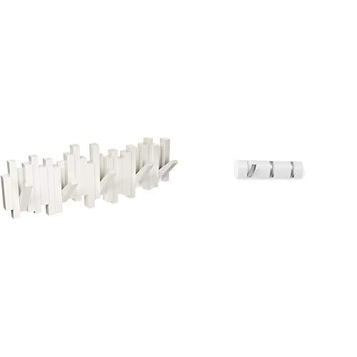 Umbra 318211 660 Perchero decorativo de pared Sticks, Blanco + 318853 660 Percha de Pared Flip 3 Blanco