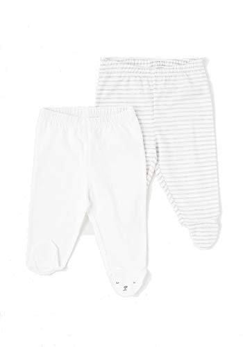 TEX - Pack 2 Leggings de Algodón para Bebé Niño y Niña, con Pies, Blanco, Recién Nacido