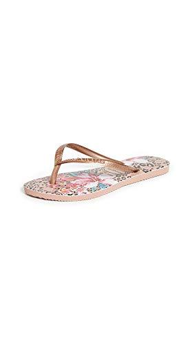 Havaianas Women's Slim Animal Floral Flip Flop Sandal, Crocus Rose, 9-10