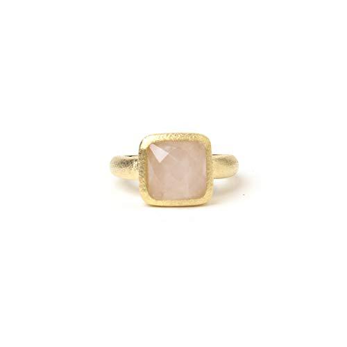 Rivka Friedman 18K Gold Clad Rose Quartz Square Satin Stack Ring