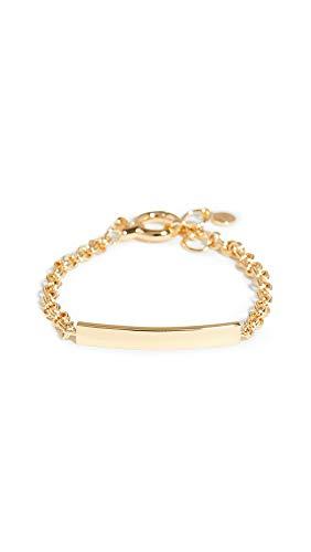 gorjana Women's Adjustable Double Links Lou Tag Bracelet, 18k Gold Plated, ID Bar Pendant