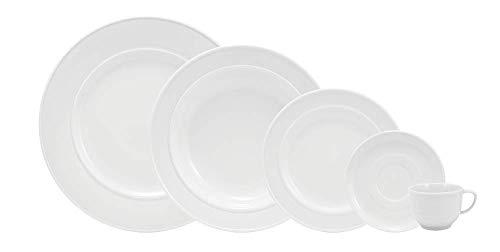 Serviço de Jantar e Chá 30 peças em Porcelana. Modelo Redondo com Relevo Lys. Branca com Relevo. Fabricado pela Schmidt.
