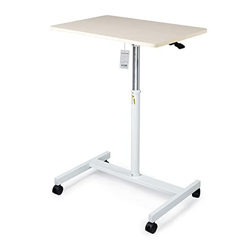IKAYAA Atril portátil de pie neumático, altura regulable con escritorio de madera clara y marco grueso para aulas, oficinas y hogar (blanco)
